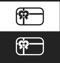 gift card with bow icon vector image vector image
