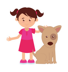 girl with cute dog mascot icon vector image vector image