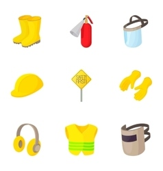 Road construction repair icons set cartoon style vector image