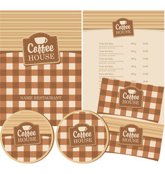set of design elements for coffee house with cup vector image vector image