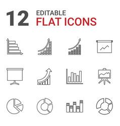12 diagram icons vector image