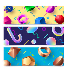 abstract 3d geometric shapes banners colorful 80s vector image