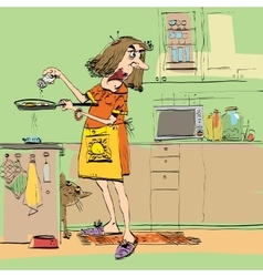 Angry woman cooking in the kitchen vector