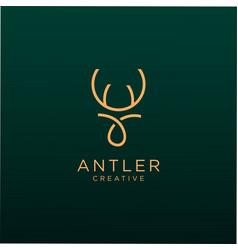 Antler logo line vintage luxury design vector