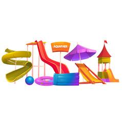aquapark equipment set modern amusement park water vector image