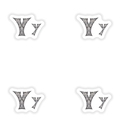 Assembly stickers Low poly letter Y in gray mosaic vector