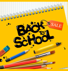 back to school sale design with colorful pencils vector image