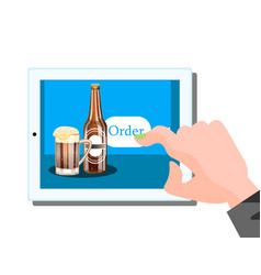 beer online order on tablet vector image