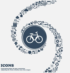 Bicycle bike sign icon in the center Around the vector image