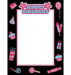 Black and pink birthday frame vector