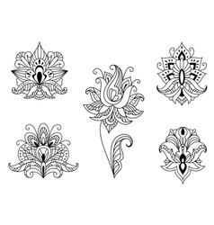Black and white floral motifs persian paisleys vector