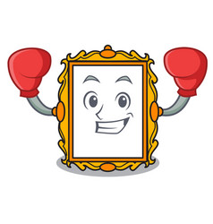 boxing picture frame character cartoon vector image