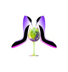 Business party logo biz women absinthe liqueur vector