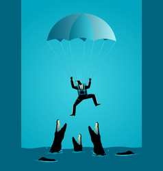 Businessman with parachute falling into hungry vector
