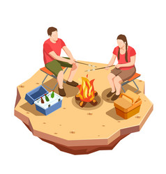 campfire outing isometric composition vector image