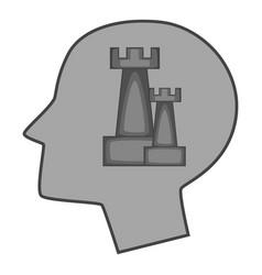 Castle inside human head icon monochrome vector