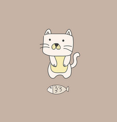 cat with fish kawaii style vector image