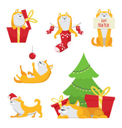 character design in cartoon style yellow dog vector image