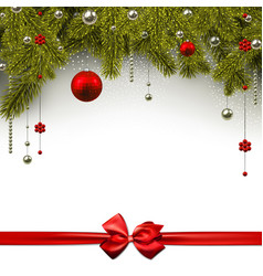 christmas background with red satin bow vector image