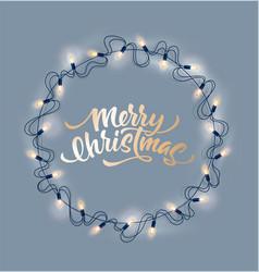 christmas lights realistic garland on pink vector image
