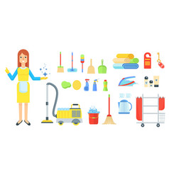 cleaning service staff woman vector image