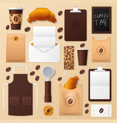 coffee shop identity template mockup vector image