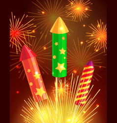 colourful exploding rockets on bright background vector image