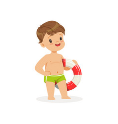 cute boy standing with lifebuoy kids summer vector image