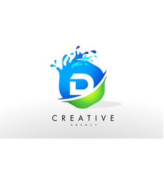 D letter logo blue green splash design vector