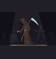 Death with scythe symbol cartoon image vector