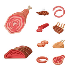 design meat and ham symbol collection vector image