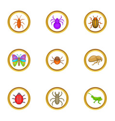 different insects icons set cartoon style vector image