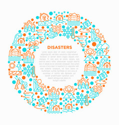 Disasters concept in circle with thin line icons vector