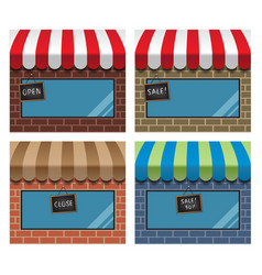 display window shops with hanging signs vector image