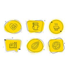 Doppio love coffee and recipe book icons set vector