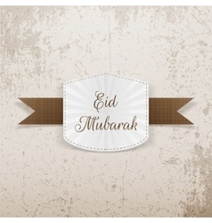 Eid Mubarak paper Badge with Ribbon vector
