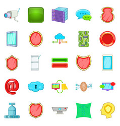 Encoding icons set cartoon style vector