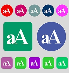 Enlarge font aA icon sign 12 colored buttons Flat vector