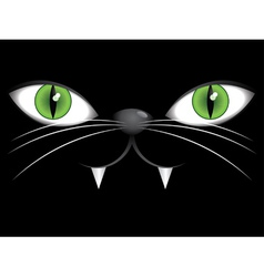 Face of black cat with green eyes vector