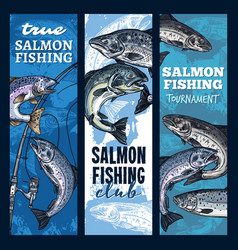 fishing tournament salmon fish and fishery rods vector image