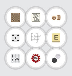 Flat icon play set of poker chess table vector