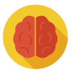 Flat knowledge and wisdom brain circle icon vector