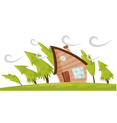 Flat scene with house and fir trees blowing vector