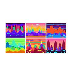 flat set of cartoon horizontal landscapes vector image