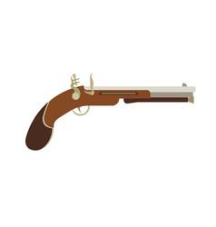 Flintlock pistol gun old weapon vintage antique vector