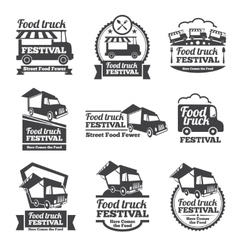 Food truck festival emblems and logos set vector