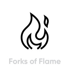 Forks flame silhouette icon editable vector