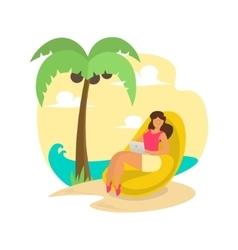 Freelance Woman on Beach vector image