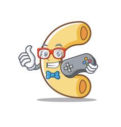 Gamer macaroni mascot cartoon style vector