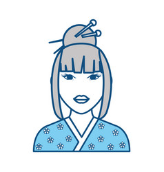 Geisha japanese woman vector